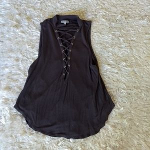 High neck gray lace front tank top